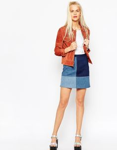 Image 1 of ASOS Denim Patchwork A-Line Mini Skirt