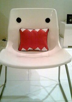 By adding a fun pillow and some minor details to a regular plain chair, you can turn it into something fun. Not a DIY but inspiration ;)