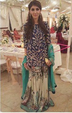 Nida Azwer is a creative genius. Love the digital print gharara Pakistani Bridal Wear, Pakistani Wedding Dresses, Pakistani Outfits, Indian Dresses, Indian Outfits, Ethnic Fashion, Indian Fashion, Pretty Dresses, Beautiful Dresses