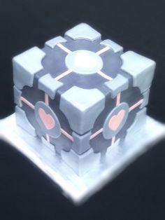 Companion Cube   companion cube cake   Flickr - Photo Sharing!