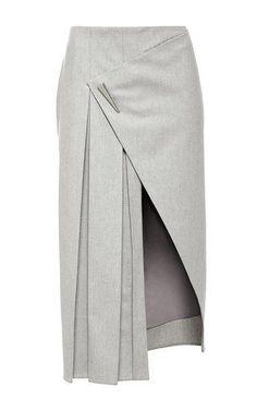 Cashmere Flannel Asymmetrical Pleated Skirt by Prabal Gurung for Preorder on Moda Operandi Moda Peru, Flannel Skirt, Grey Flannel, White Pleated Skirt, High Skirts, Box Pleat Skirt, Slit Skirt, Foto Fashion, Diy Vetement