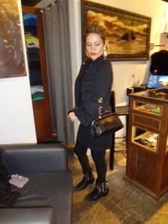 black with retro purse