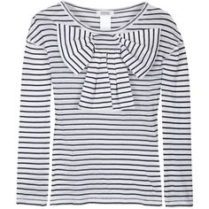 Sonia by Sonia Rykiel Stripey Long Sleeve Bow Top ($130) ❤ liked on Polyvore featuring tops, blouses, shirts, stripes, women, bow blouses, long-sleeve shirt, long sleeve blouse, striped long sleeve shirt and summer shirts