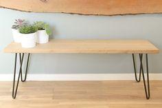 Banc en bois massif et pieds métal épingle années 50 => DIY  270x35 cm (étagère blanche + pieds épingles)