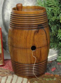 Antique Wooden Thread Spool/Needle Holder