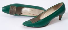 """Women's Shoes """"Auditions"""" - American 1968. Green leather w/metal buckles. mnhs.org"""