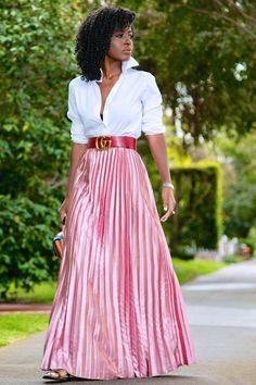Button Down Shirt + Metallic Pink Pleated Skirt Satin Pleated Skirt, Pleated Skirt Outfit, Maxi Skirts, Chiffon Skirt, Black Satin Shirt, Accordion Skirt, Classy Work Outfits, Style Pantry, Metallic Pink