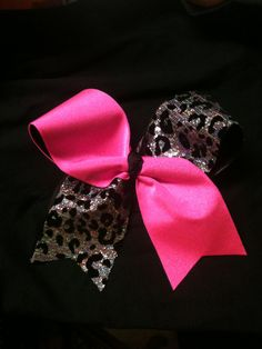 Pink Cheetah Cheer Bow