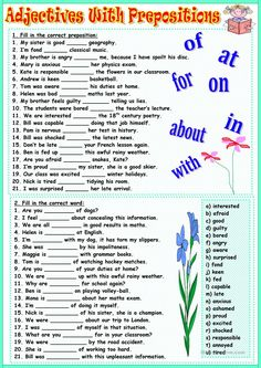 Adjectives with prepositions worksheet - Free ESL printable worksheets made by teachers