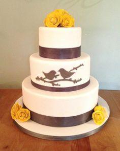 rustic yellow and grey weddings | Gray Yellow Flowers Fondant Round Wedding Cake Wedding Cakes Photos ...