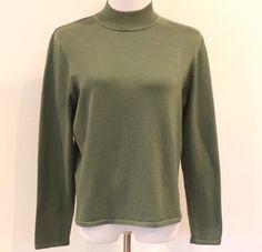 Women's Pendleton Large Green Silk Blend Light Weight Knit Turtleneck Sweater #Pendleton #TurtleneckMock