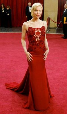 Renée Zellweger and Carolina Herrera Red Crystal Embroidered Bodice Gown Photograph