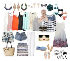 """""""Capsule wardrobe summer 7 days"""" by diananunes on Polyvore featuring Topshop, Chicnova Fashion, WearAll, River Island, LE3NO, Roni Kantor, ONLY, Athleta, Ancient Greek Sandals and Tory Burch"""