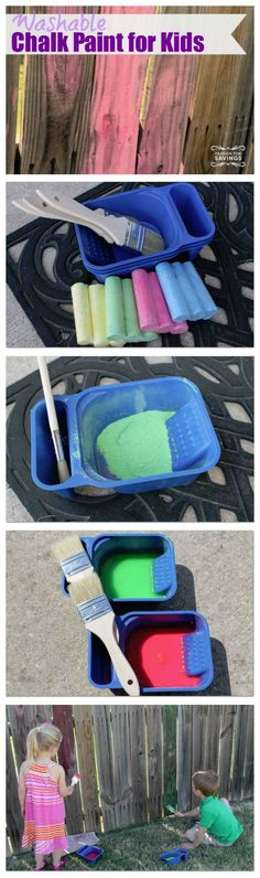 Washable Chalk Paint for Kids. Peyton and Handyn did this today and they had fun for hours. My backyard, fence, concrete, windows, and even the dogs are very colorful. Recommend to anyone with young kiddos.