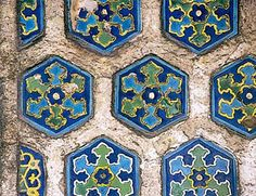 Polychrome ceramics (Iznik tiles), from the Mihrimah Camii in Istanbul.