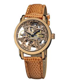 Rose Gold & Brown Mechanical Watch