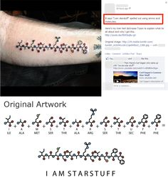 Coolest science tattoo - says I am star stuff (from famous Carl Sagan quote). Spelled in amino acids Dna Tattoo, Life Tattoos, Body Art Tattoos, New Tattoos, Tattoo Art, Tatoos, Science Tattoos, Chemistry Tattoo, Geniale Tattoos