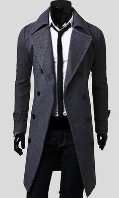 """Fashionable Casual Style Long Sleeves Solid Color Slimming Double Breasted Coat For Men found on <a href=""""http://dresslily.com"""" rel=""""nofollow"""" target=""""_blank"""">dresslily.com</a>"""