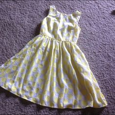 Yellow and White Polka Dot Dress Super cute fit and flare dress. Fully lined. Small scoop in back. Classic. LOFT Dresses