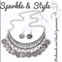 ✨Trendy Style✨ Beautiful silver tone bohemian necklace and earrings set.  Both necklace and earrings have dangling coins. Necklace plate studded with sparkling rhinestones. Zinc alloy metal. Jewelry