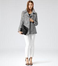 Sky Black/white Printed Zip-up Jacket - REISS