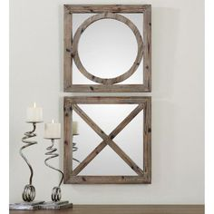 Uttermost Baci E Abbracci Wooden Mirrors - Set of 2 - 18W x 18H in. - 07067
