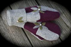 handmade recycled wool mittens in angora by StudioSisu on Etsy, $38.00