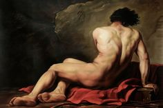 Classical Portrait Oil Painting on Canvas Male Nude Wall Art Home Decor Patroclus, 1780 by Jacques Louis David Hand Painted