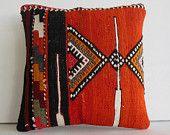 orange black embroidered pillow Kilim Pillow Throw Pillow kilim cushion kilim rug pillow cover sham decorative throw pillow turkish cushion
