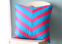 Pink and turquoise pillow