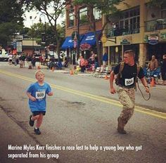 Marine Myles Kerr finishes a race last to help a young boy who got separated from his group.