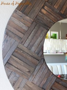 Totally awesome HUGE mirror made from shims - DIY mirror project - (use cottage seaglass colors on shims? Huge Mirror, Diy Mirror, Round Mirrors, Sunburst Mirror, Wall Mirrors, Wood Mirror, Home Projects, Home Crafts, Diy Home Decor
