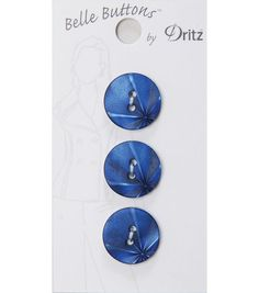 Belle Button-Fashion Navy Etched Burst 18Mm