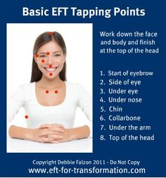 EFT (Emotional Freedom Technique) - Acupuncturists balance the energy system with needles, but with EFT you simply tune into the problem or issue by thinking about it and then activate the meridian or acupuncture points by tapping on them to effectively release negative emotions and physical symptoms and restore balance and harmony. (I have been working with an EFT Practitioner. This stuff really works.)