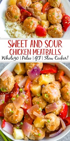These sweet and sour chicken meatballs are made in the slow cooker, and are paleo, gluten-free and easily made Whole30! It takes less than 20 minutes to prepare, and then the crock pot does the cooking for you. These Whole30 meatballs are perfect for a weeknight dinner, or meal prep for easy, healthy lunches. It's a family friendly recipe that has the flavors you love from your favorite Chinese takeout! #whole30recipes #whole30slowcooker #crockpot #sweetandsour #chickenrecipes Paleo Chicken Recipes, Paleo Recipes, Real Food Recipes, Meatball Recipes, Easy Recipes, Slow Cooker Recipes, Crockpot Recipes, Healthy Lunches, Work Lunches