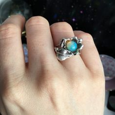 Opal ring flower and leaf ring fits sizes 5-6 by lotusfairy