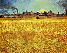 """Sunset: Wheat Fields Near Arles 1888. """"A summer sun... town purple, celestial body yellow, sky green-blue. The wheat has all the hues of old gold, copper, green-gold or red-gold, yellow gold, yellow bronze, red-green."""" The wheat is moving and restless contrast with the still and dark of the town on the horizon. He made this work during the height of the mistral winds, To prevent his canvas from flying away, van Gogh drove the easel into the ground and secured the canvas to the easel with…"""