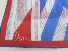 Get ready for your #July4th party with classy and classic style! #Vera Vintage Scarf Signed 1960 Chevron Red White Blue Rectangular Hand Rolled