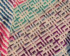 Thassos Mosaic Crochet Blanket instant download PDF pattern | Etsy Manta Crochet, Crochet Baby, Baby Patterns, Crochet Patterns, Blanket Patterns, Mosaic Patterns, Crochet Ideas, Crochet Projects, Wrap Pattern