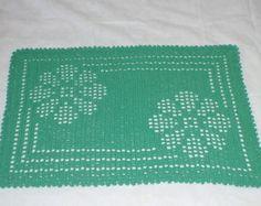 Tapete de crochê em barbante flores