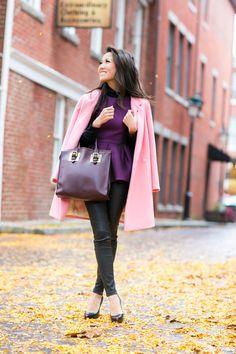 Color Love :: Rose car coat & Purple peplum :: Outfit ::  Top :: Tibi peplum top , Studio Nicholson coat , ASOS turtleneck Bottom :: thanks to J Brand  Bag :: Sophie Hulme Shoes :: Christian Louboutin Published: October 14, 2013