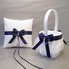 Navy Blue Wedding Bridal Flower Girl Basket and Ring Bearer Pillow Set on Ivory or White ~ Double Loop Bow & Hearts Charm ~ Allison Line by evertonbridal on Etsy https://www.etsy.com/listing/181826587/navy-blue-wedding-bridal-flower-girl