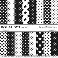 Licorice POLKA DOT  BASIC Digital Paper Pack  by JAnnBdesigns