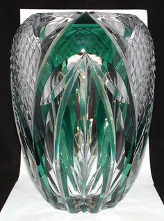 "Beautiful Large Heavy Light Green ""Bali"" Val St. Lambert S Belgium Crystal Vase"