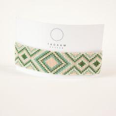 IDÉE CADEAU NOËL Bracelet tissé en perles miyuki / Perles argentées en plaquées Argent 925 / vert, vert d'eau : Bracelet par tadaam-bijoux