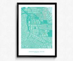 Brooklyn Downtown - New York City Map Poster Art Monochromatic Color de FlatMates en Etsy