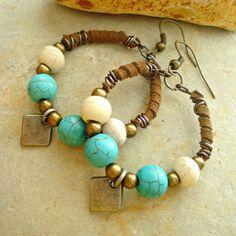 Boho Earrings - Boho Jewellery - Leather Jewellery - Hippie Earrings - Leather Earrings - Yoga Jewellery