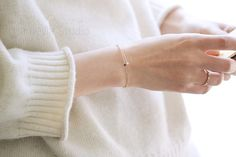14K gold bracelet with a very fine simple Single by TInyCamellia