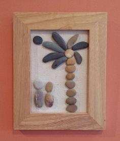 Pebble Lovers, Lovers in a Moonlight, Stone Art, Pebble Art, Rock Art, 3D Wall Art, Engagement Gift, Unique Gift, Framed Pebble Art by PirkkosCreations on Etsy