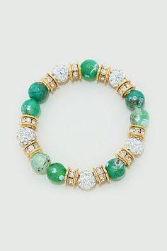 Pave Crystal Di Bracelet in Emerald Agate